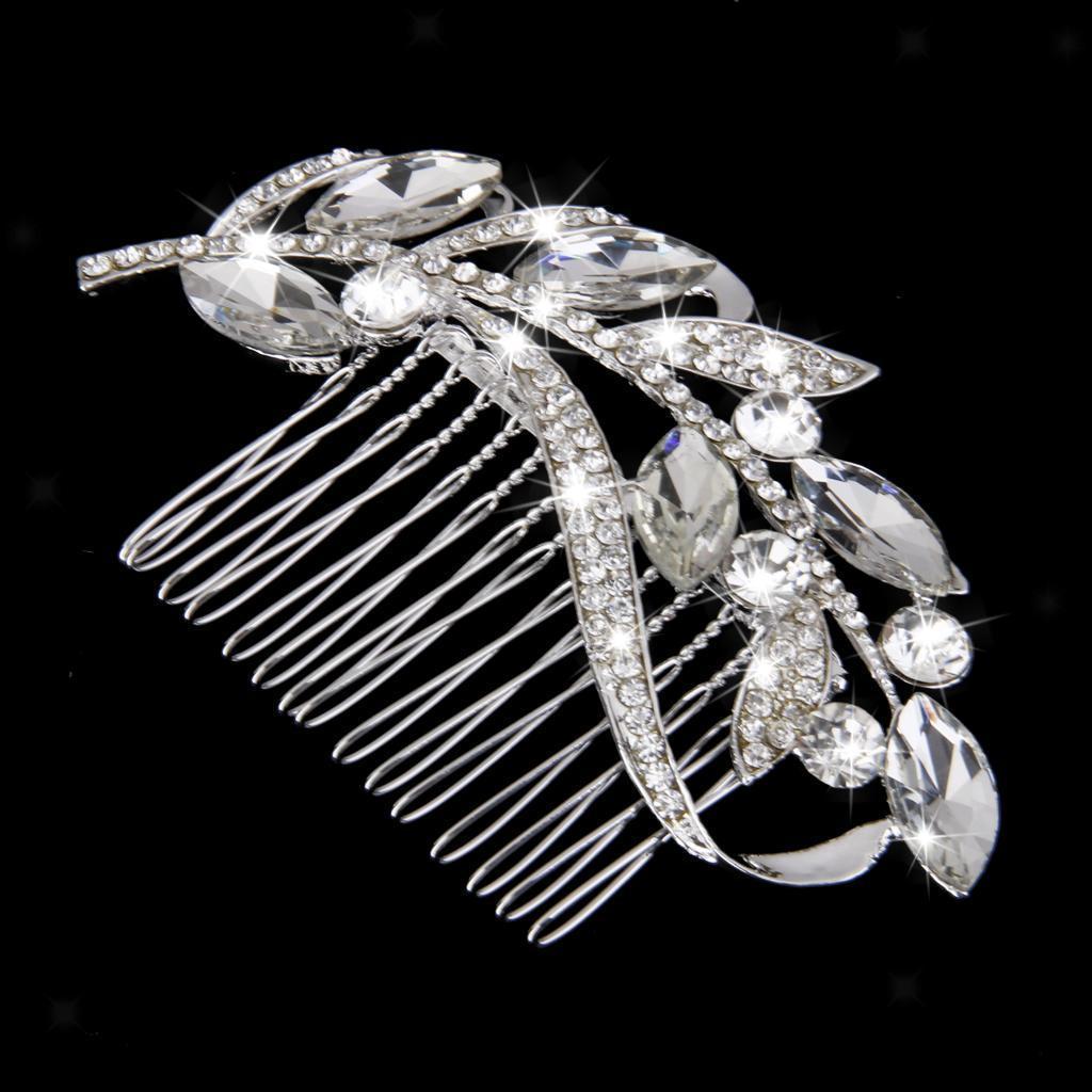 Wedding-Party-Flower-Crystal-Rhinestone-Bridal-Hair-Comb-Clip-Hair-Accessory thumbnail 7
