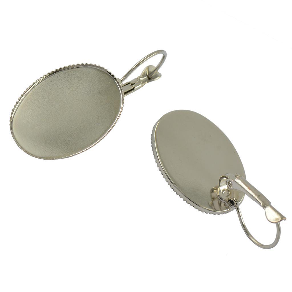 12pcs Oval Bezel French Lever Back Earring Hook Blank Base Setting 25x18mm