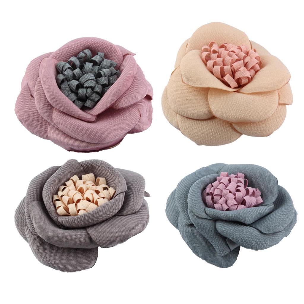 5pcs Cloth Flower For Hair Clip Diy Craft Headdress Hair Accessories