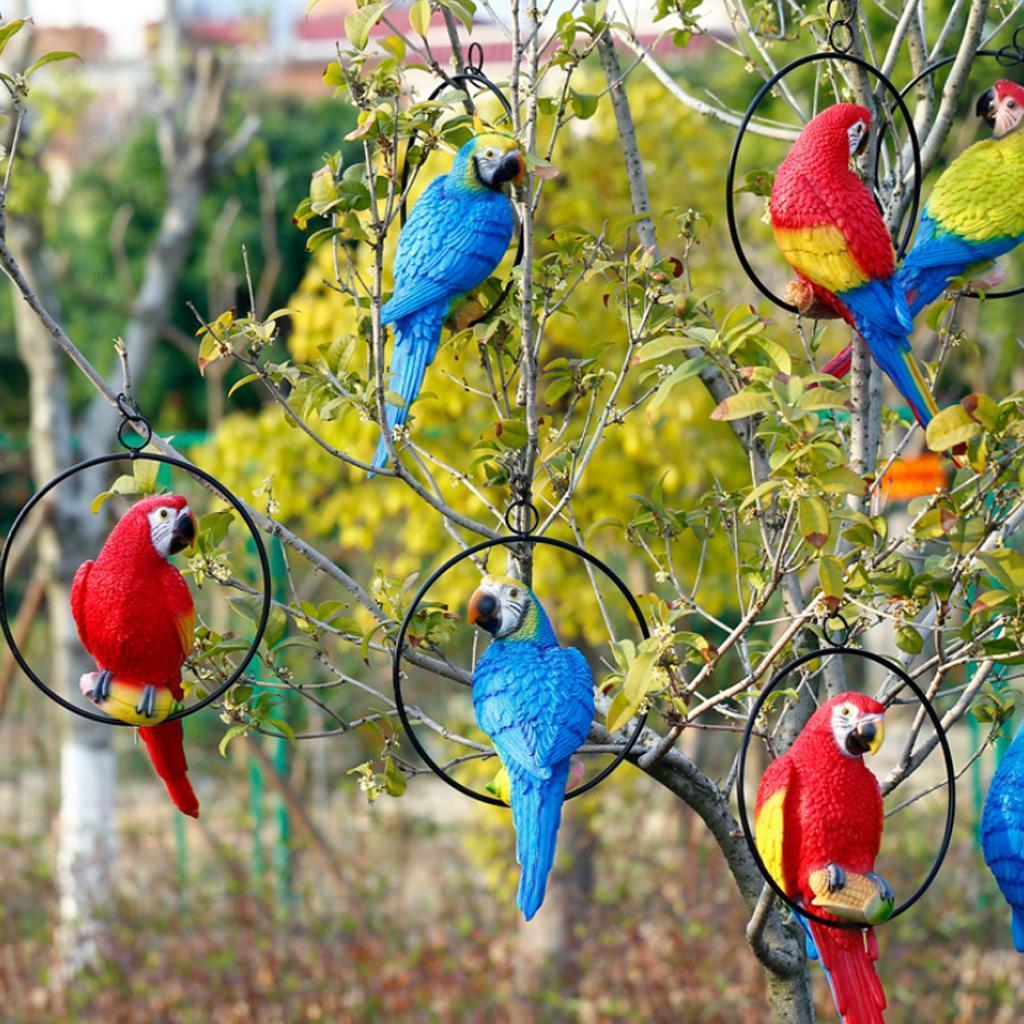 Simulation-Parrot-Bird-Sculpture-Wall-Hanging-Macaw-Resin-Crafts-Handmade thumbnail 3