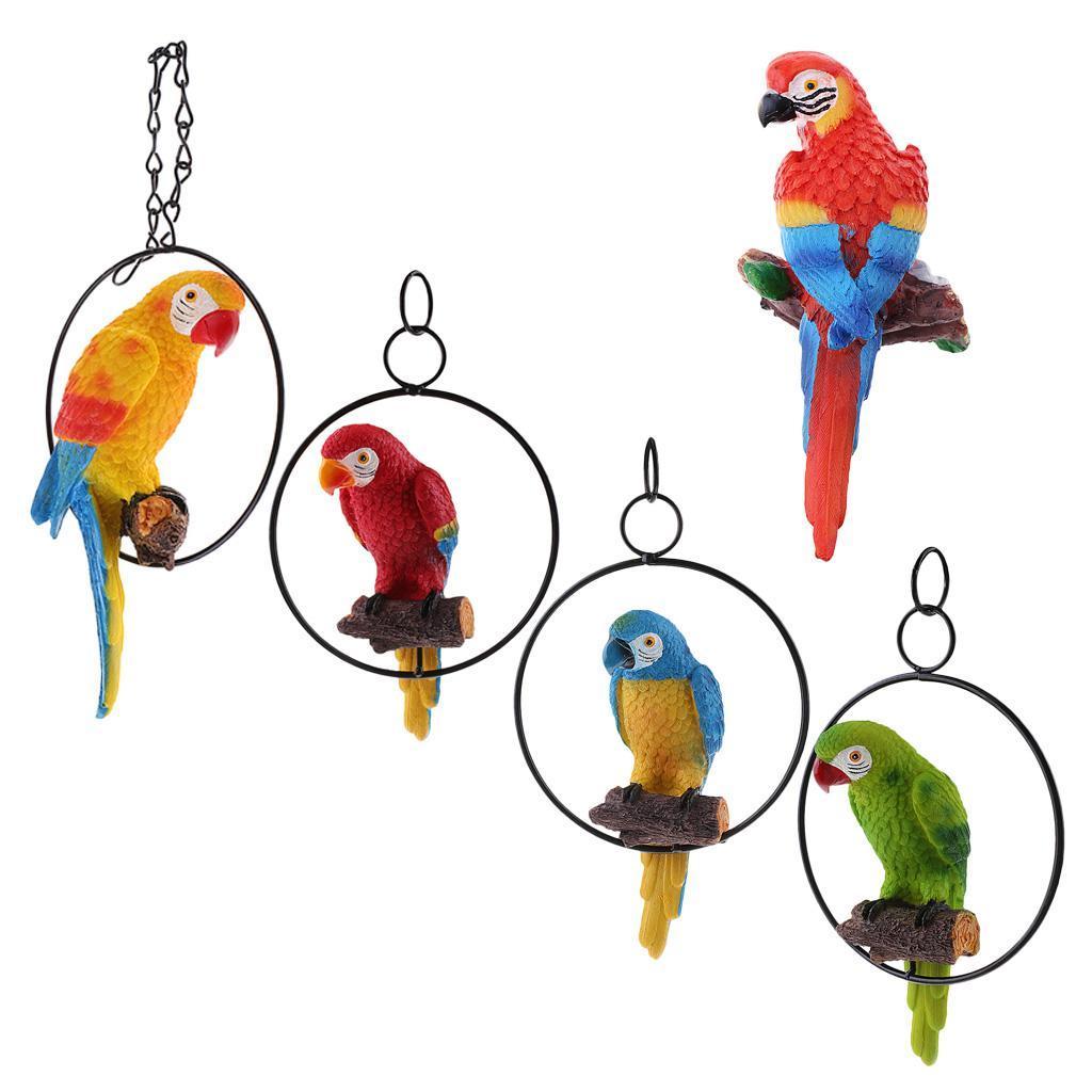 Simulation-Parrot-Bird-Sculpture-Wall-Hanging-Macaw-Resin-Crafts-Handmade thumbnail 4