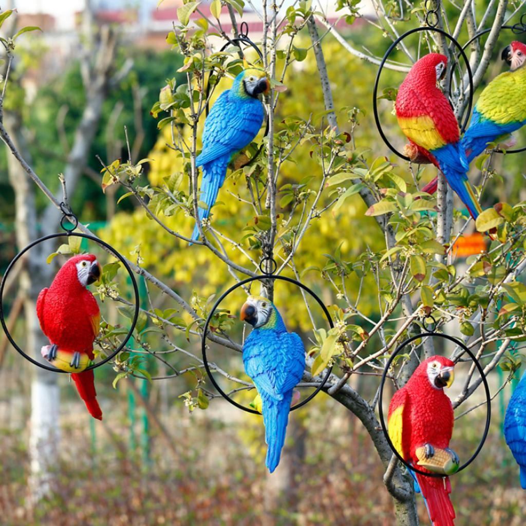 Simulation-Parrot-Bird-Sculpture-Wall-Hanging-Macaw-Resin-Crafts-Handmade thumbnail 7