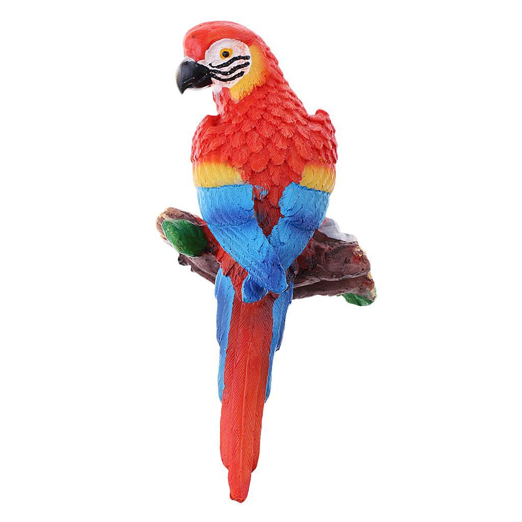 Simulation-Parrot-Bird-Sculpture-Wall-Hanging-Macaw-Resin-Crafts-Handmade thumbnail 12