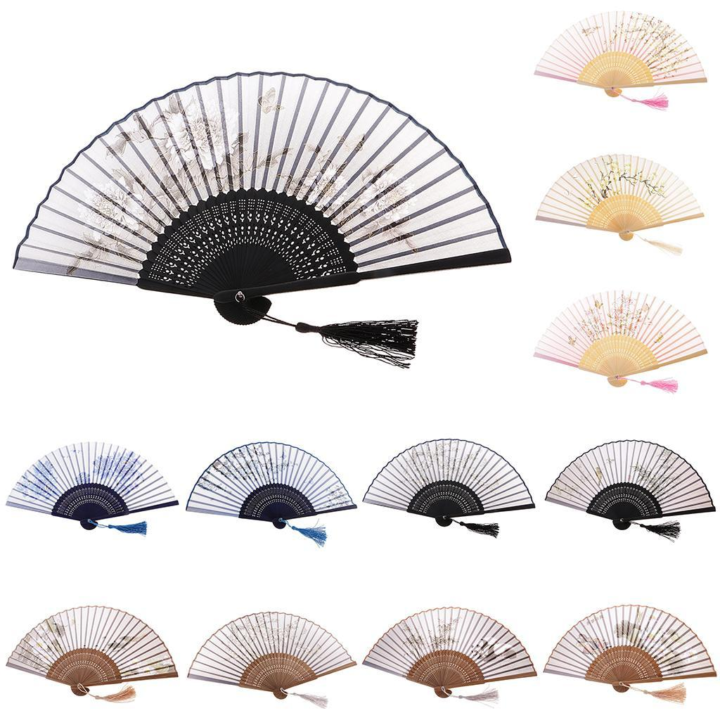 Japanese Hand Held Fan Sakura Silk Folding Fan with Wooden Fan ...