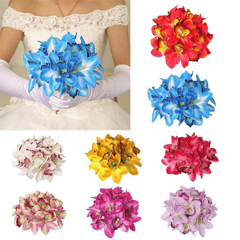 Artificial Flowers 12 Head Silk Orchids Bush Wedding Bridal Bouquet