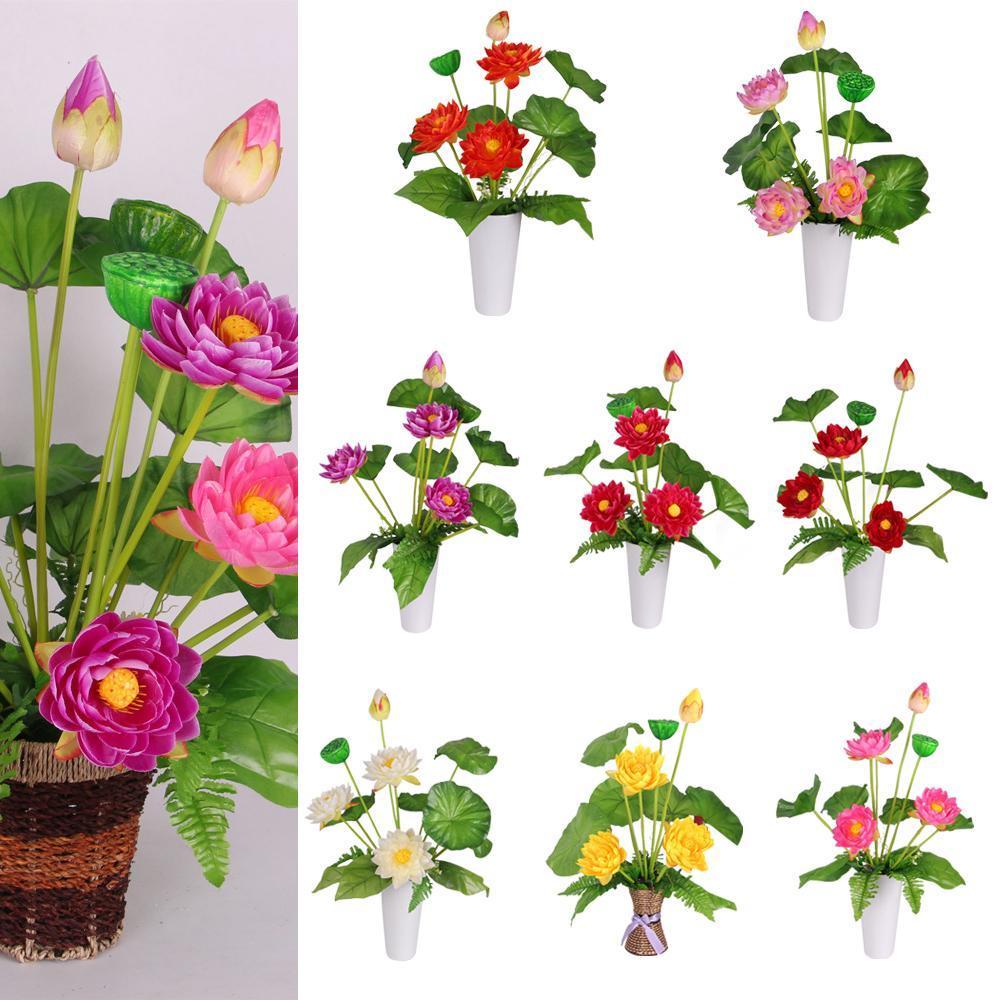 4 head artificial flower silk lotus bunch wedding party table decor bouquet silk green leaf plant mini artificial lotus flower desktop vase decor izmirmasajfo
