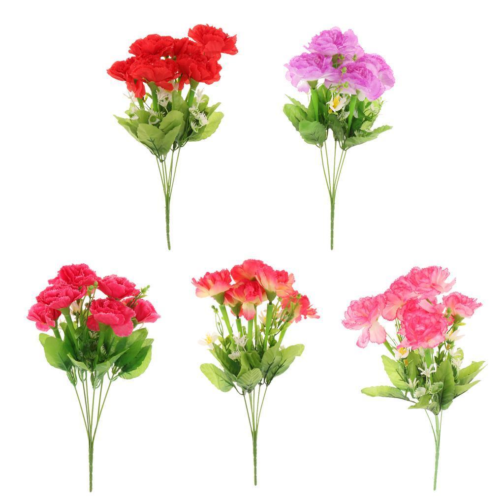 5 Colors Bunch Vintage Artificial Carnation Bouquet Silk Flower