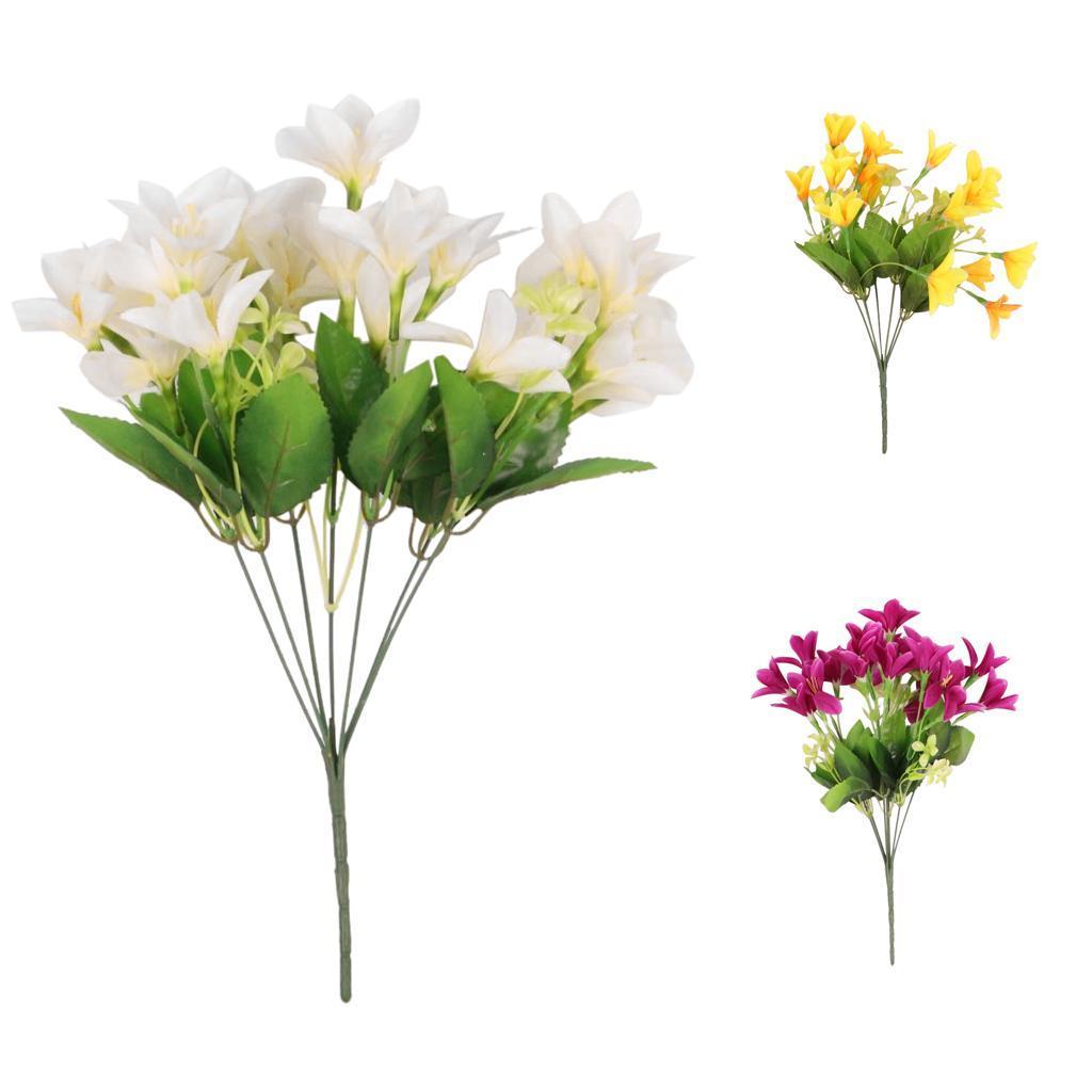 Lily Simulation Lilium Nanum Silk Flower Plants Bouquet Outdoor