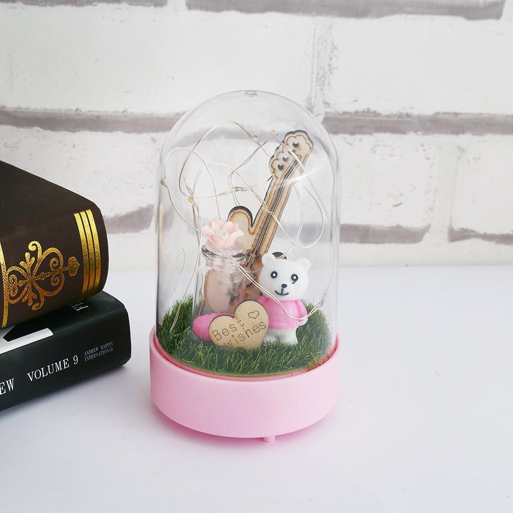 dophile guitar flower dome lamp gift for table desk home bedroom office decor ebay. Black Bedroom Furniture Sets. Home Design Ideas