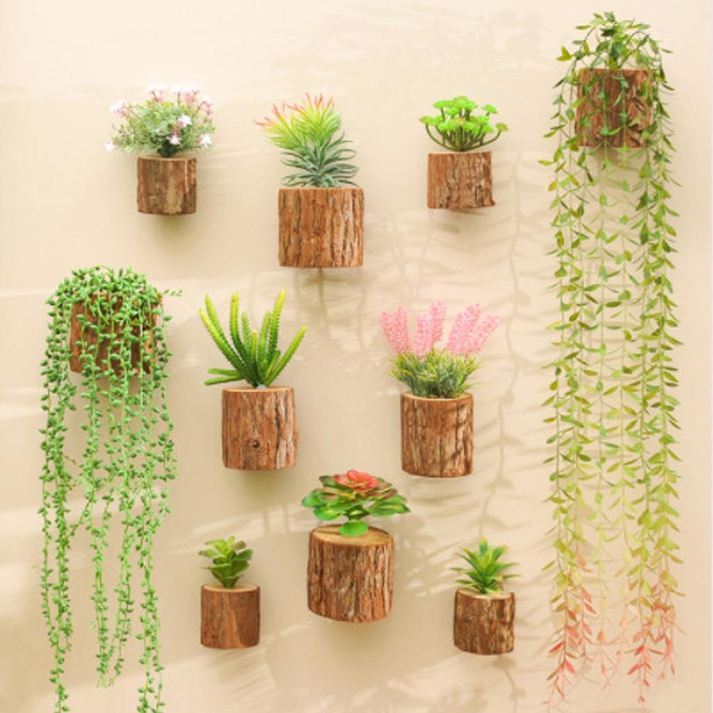 Decorative Fake Succulent Plants Bonsai Wooden Stump Potted Wall ...