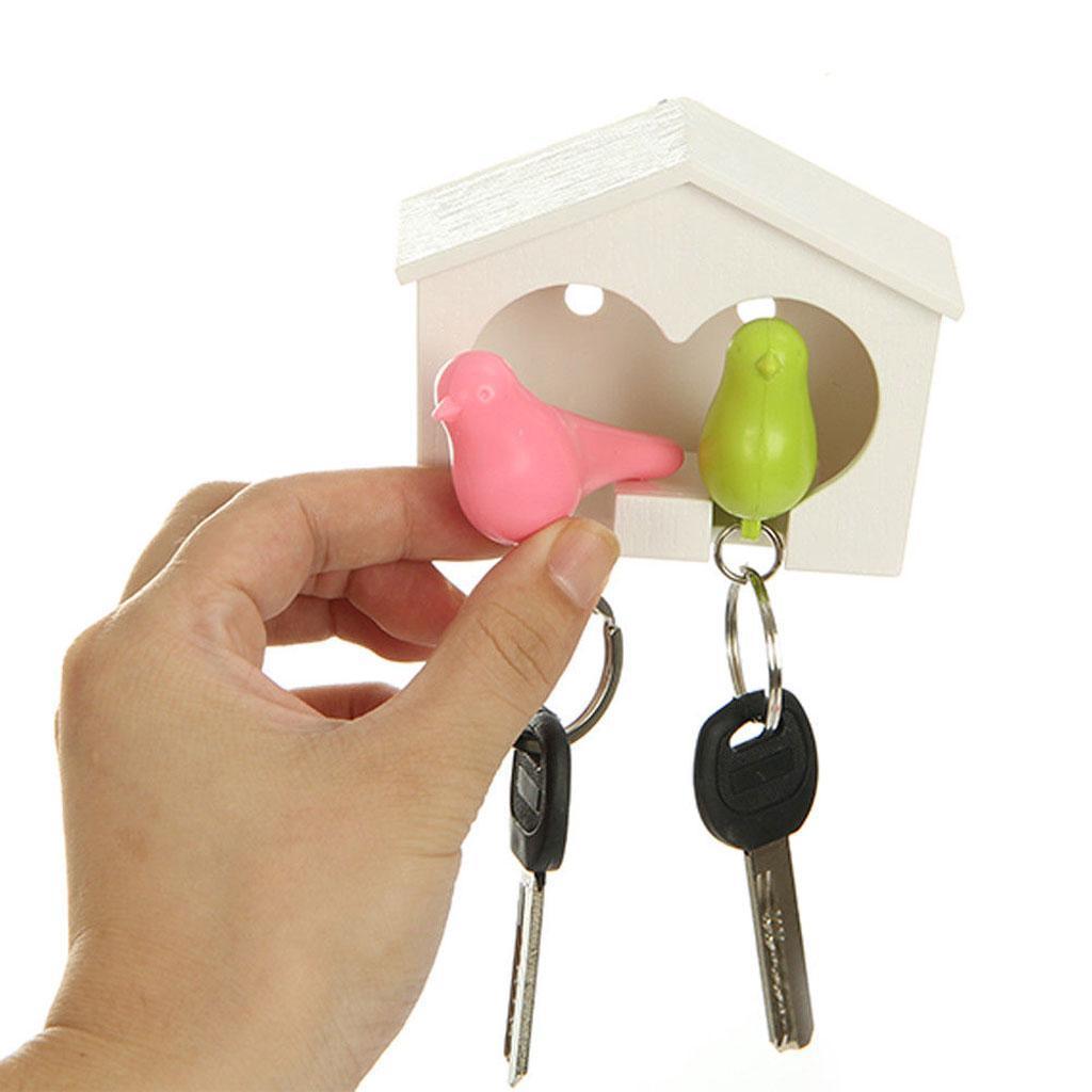 Novelty-Single-Duo-Sparrow-Bird-Nest-KeyChain-Key-Ring-Holder-Hook-Whistle-Ring thumbnail 14