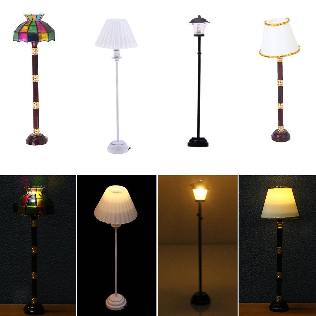 Dollhouse Miniature LED Floor Lamp Light Model Operated Children/'s Toys
