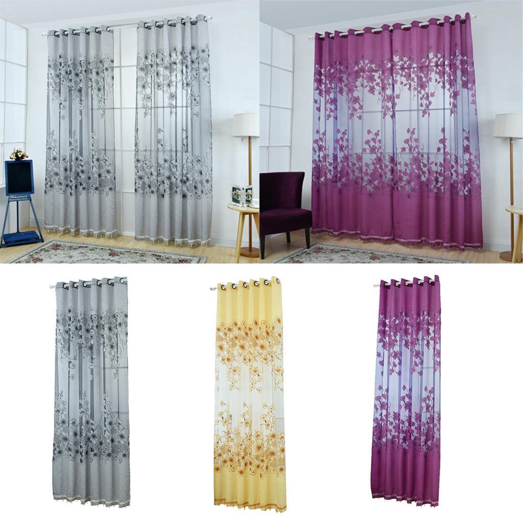 Floral Curtain Decor Kitchen Sheer Cafe Window Panel Drape Grey W Beads Ebay
