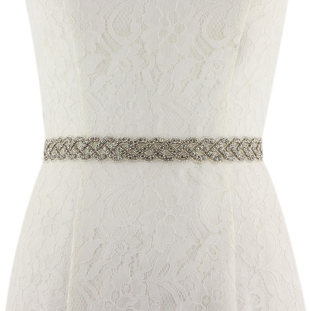 Rhinestone sash belt bridal gown crystal wedding dress for Belts for wedding dresses ebay