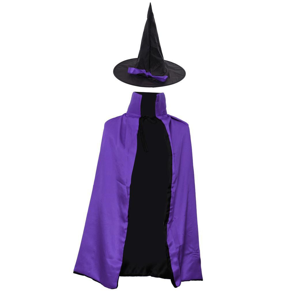 Punk-Halloween-Men-Women-Kid-Cloak-Double-Face-Gothic-Witch-Cone-Hat-Coat-Cape thumbnail 3