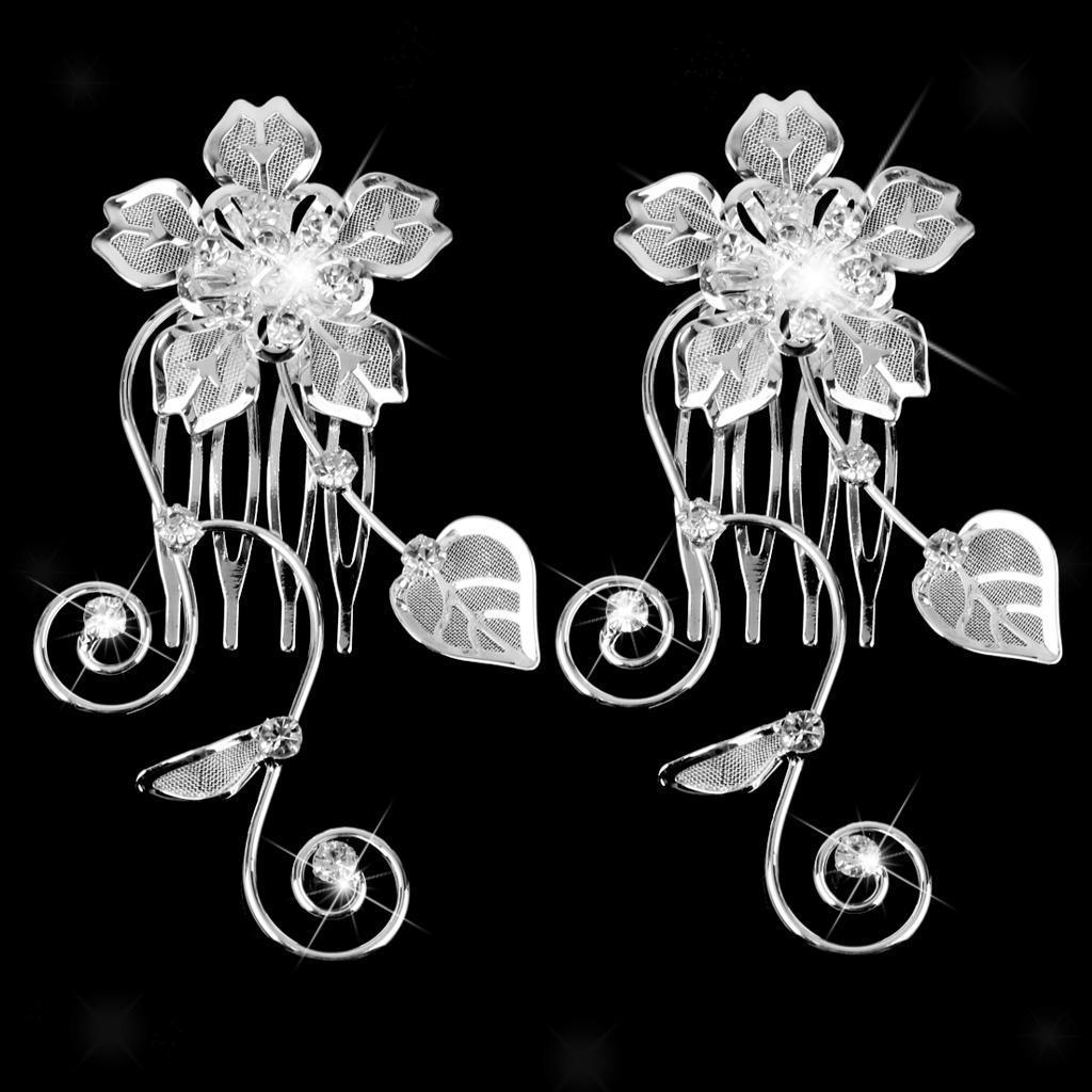 Peigne-a-Cheveux-Strass-Accessoire-de-Cheveux-de-Mariee-Bijoux-de-Mariage miniature 9