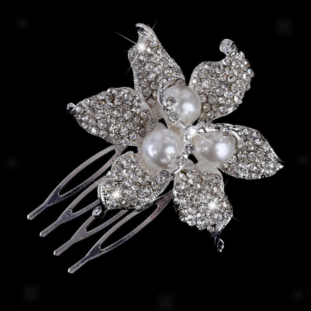 Peigne-a-Cheveux-Strass-Accessoire-de-Cheveux-de-Mariee-Bijoux-de-Mariage miniature 11