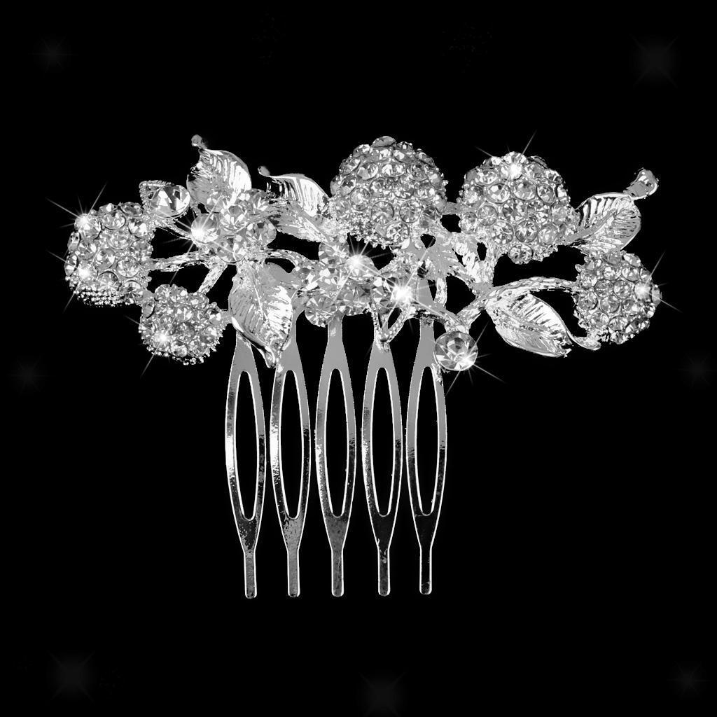 Peigne-a-Cheveux-Strass-Accessoire-de-Cheveux-de-Mariee-Bijoux-de-Mariage miniature 13
