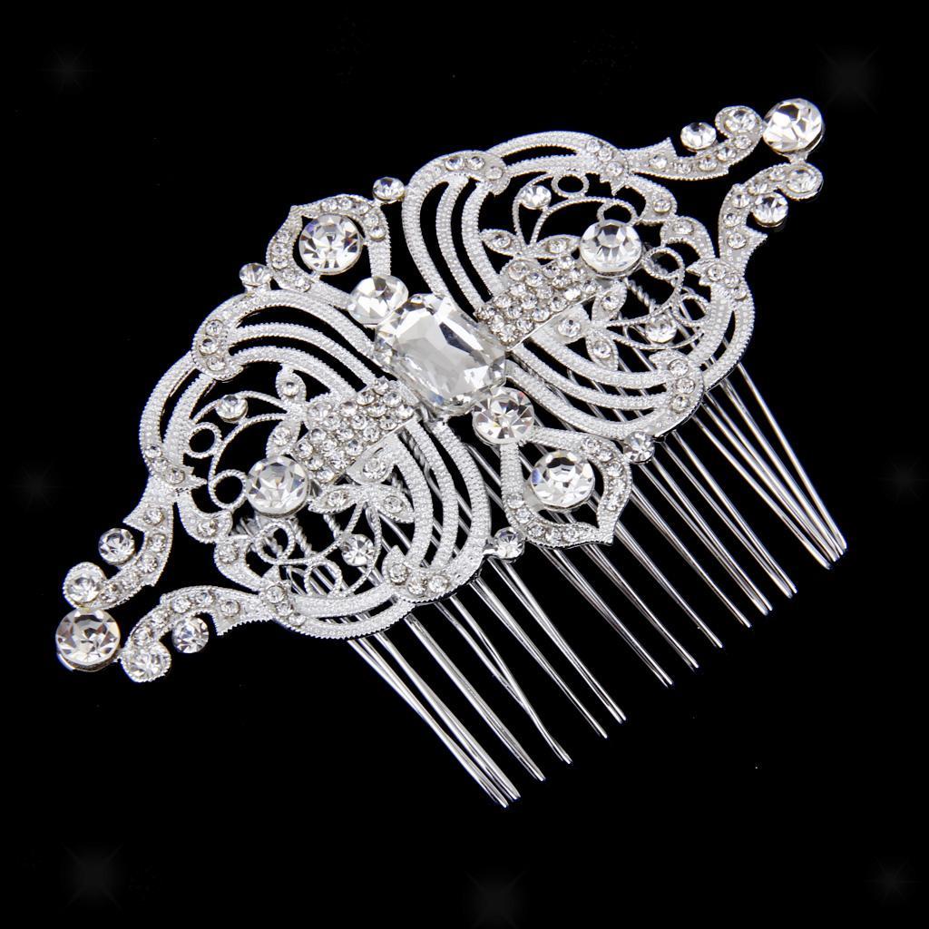Peigne-a-Cheveux-Strass-Accessoire-de-Cheveux-de-Mariee-Bijoux-de-Mariage miniature 16