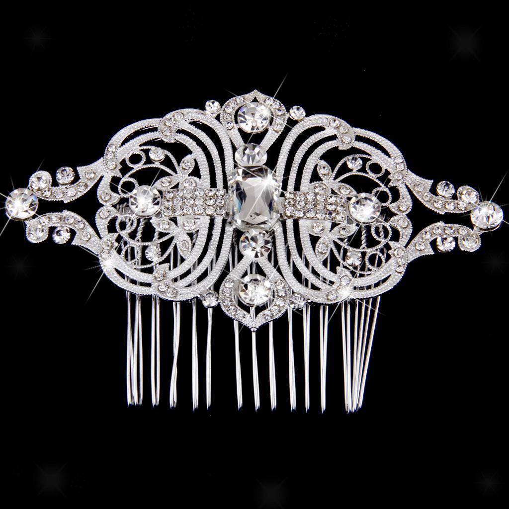 Peigne-a-Cheveux-Strass-Accessoire-de-Cheveux-de-Mariee-Bijoux-de-Mariage miniature 15