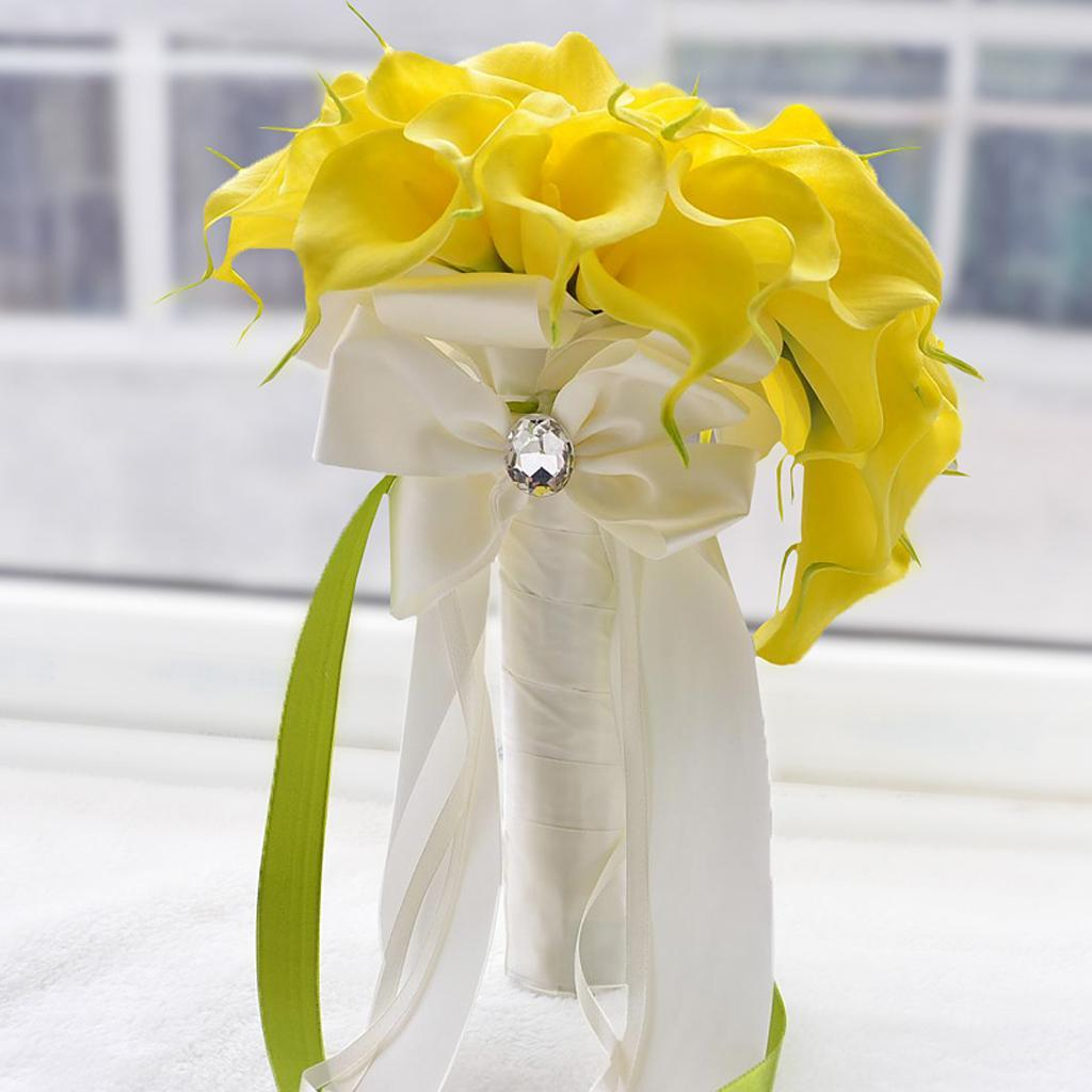 Hand Holder Bridesmaids Bride Bouquet Artificial Flowers Lily Floral ...
