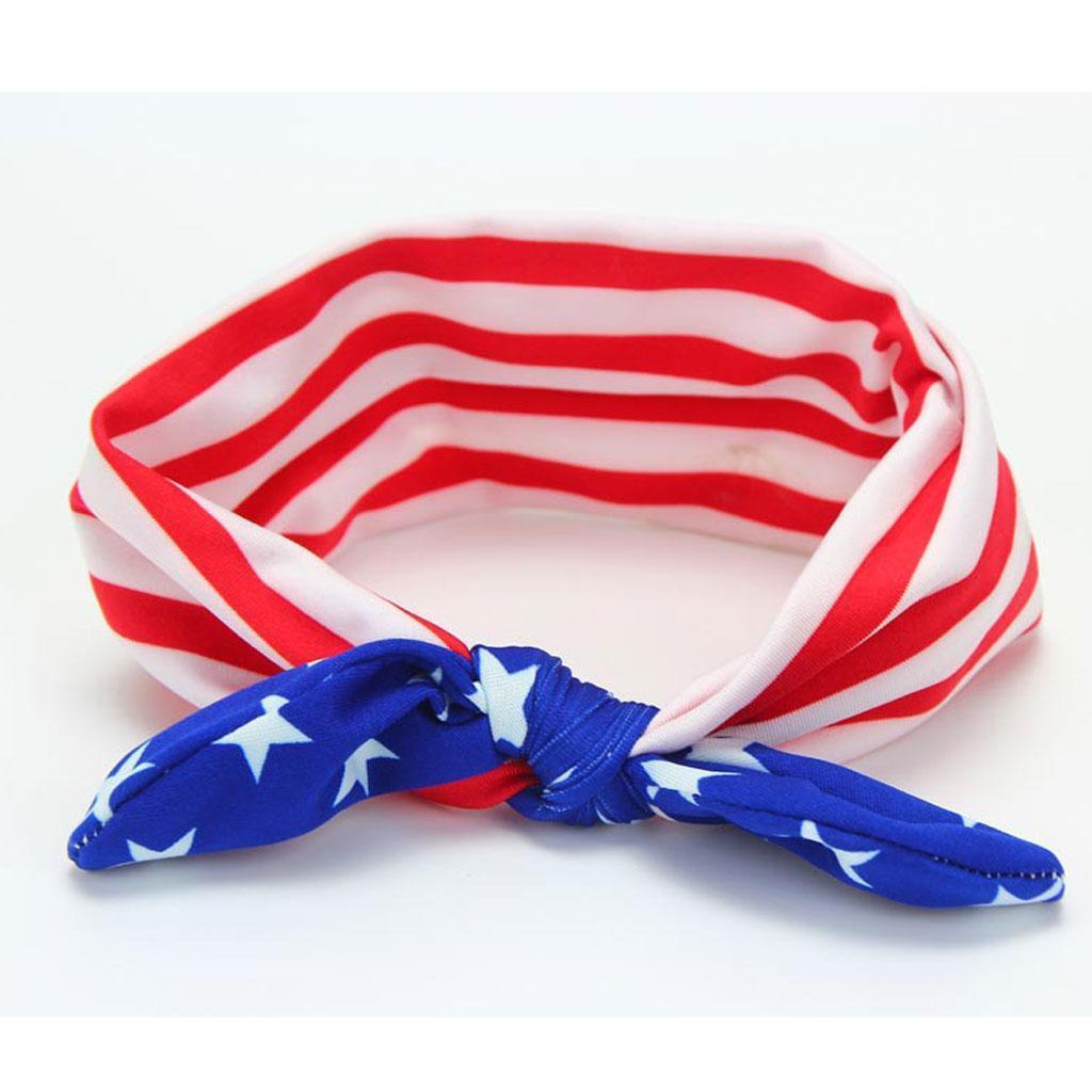 4-Juillet-Bebe-Filles-Turban-Lapin-Hairband-bowknot-Drapeau-americain-Bandeau miniature 3