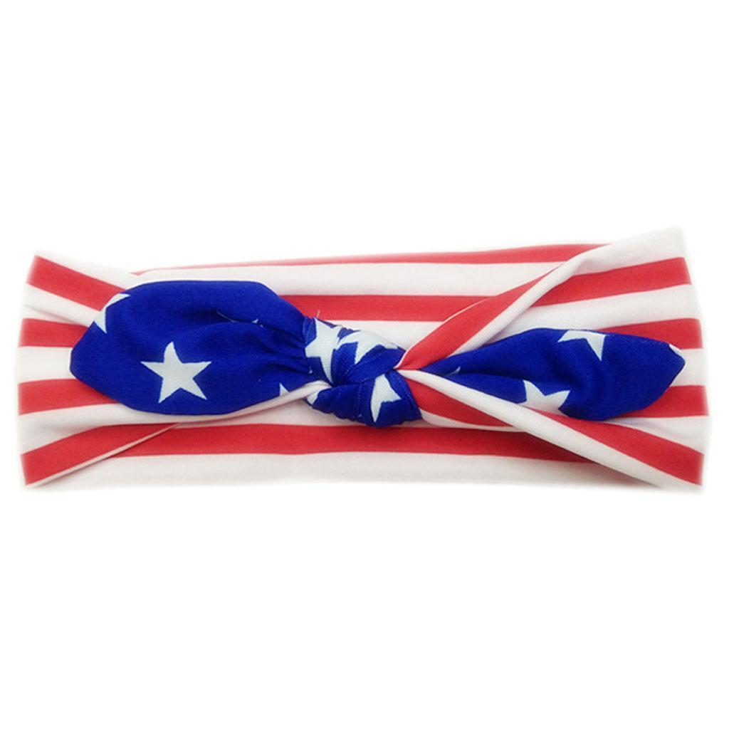 4-Juillet-Bebe-Filles-Turban-Lapin-Hairband-bowknot-Drapeau-americain-Bandeau miniature 4