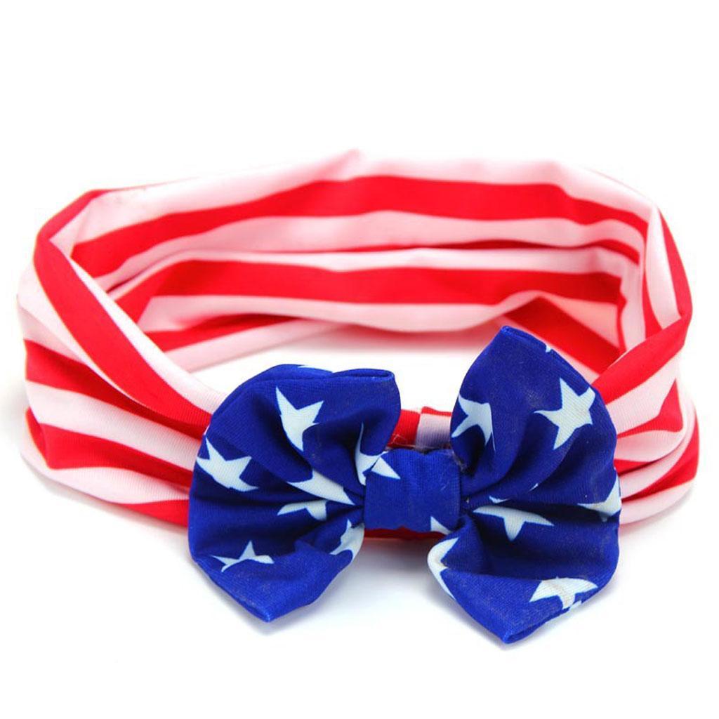 4-Juillet-Bebe-Filles-Turban-Lapin-Hairband-bowknot-Drapeau-americain-Bandeau miniature 7
