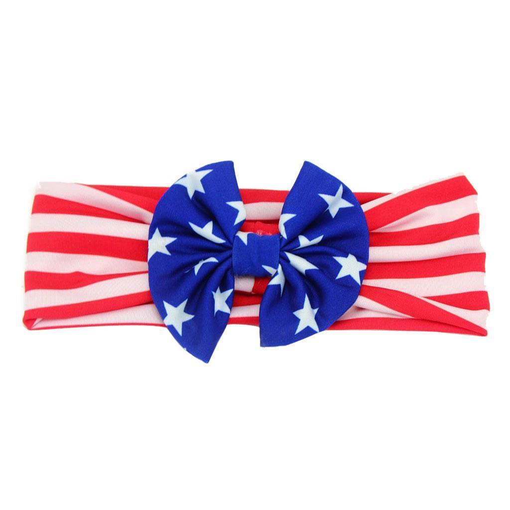 4-Juillet-Bebe-Filles-Turban-Lapin-Hairband-bowknot-Drapeau-americain-Bandeau miniature 8