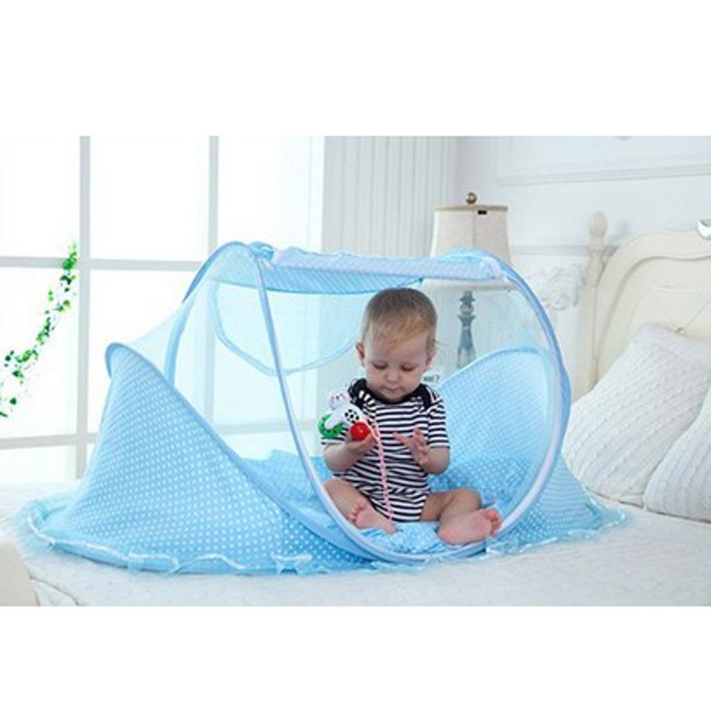 Set-3pcs-Tente-Moustiquaire-Bebe-Lit-Pliant-Matelas-et-Oreiller-pr-Bebe miniature 5