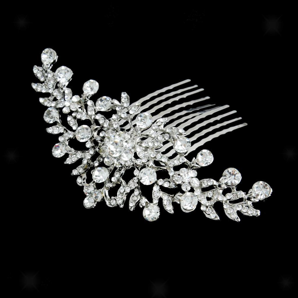 Bijoux-de-soiree-de-mariage-Crystal-Bridal-femme-strass-Peigne-Diademe-cheveux miniature 2