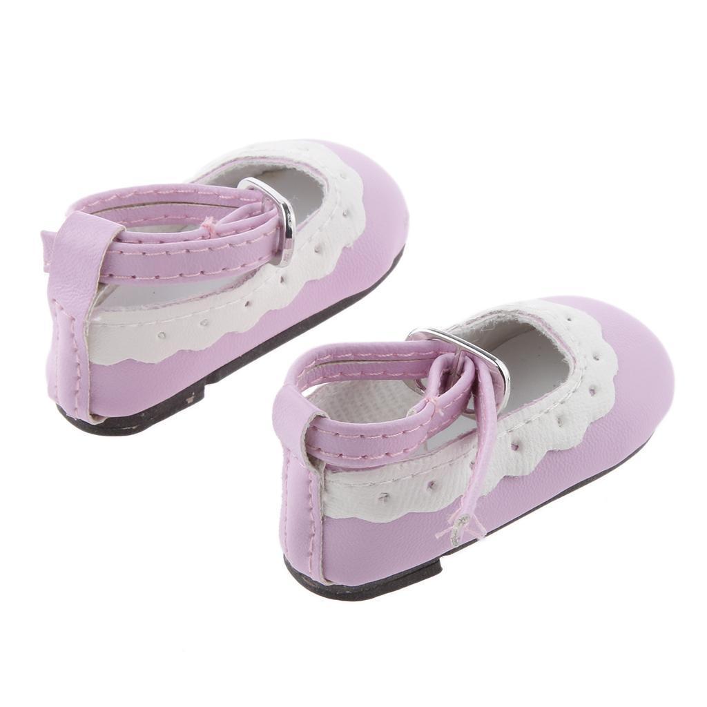 Colore-Chaussures-Plat-Cheville-Strap-Dentelle-Pour-1-4-Poupee-Dolls-Accessoire miniature 3