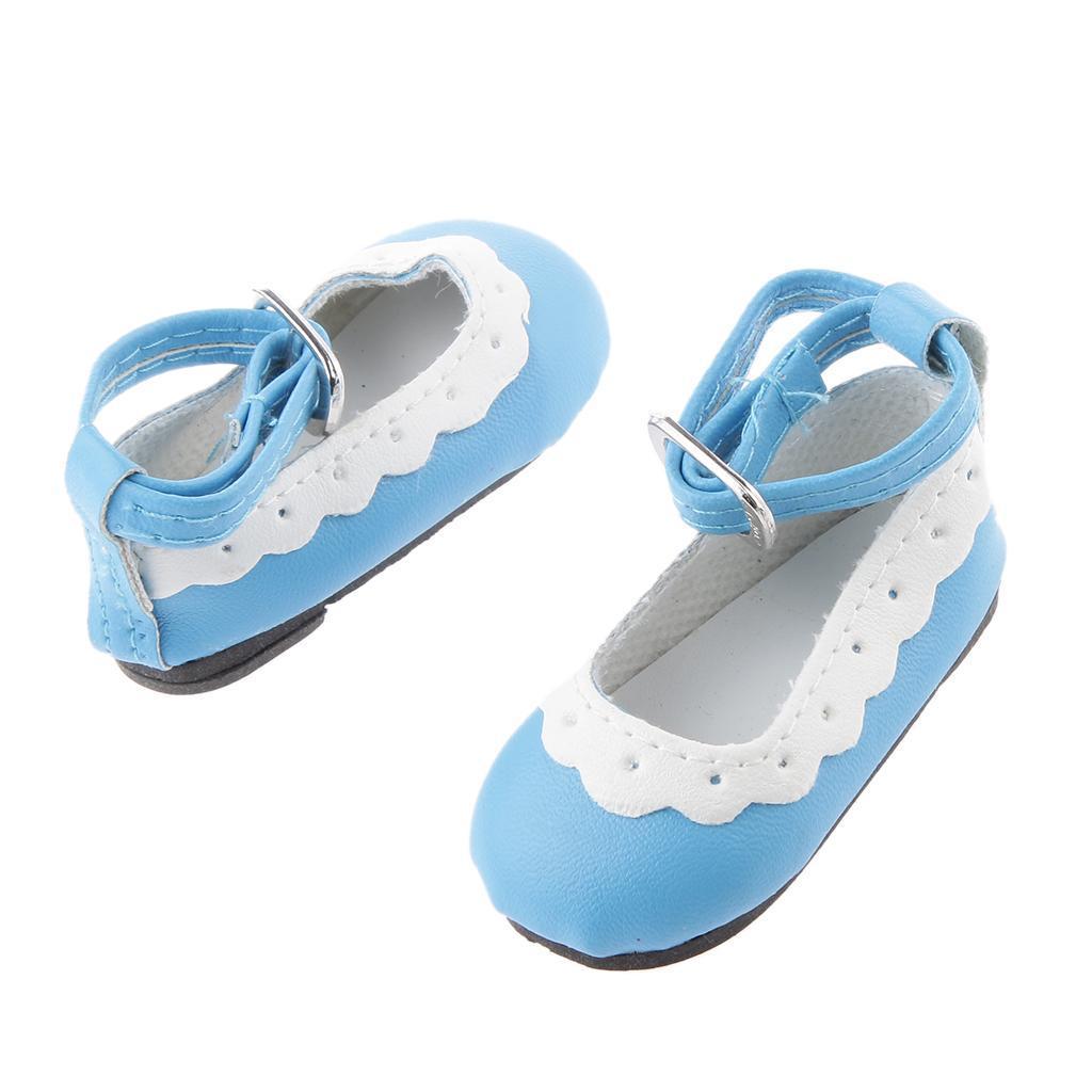 Colore-Chaussures-Plat-Cheville-Strap-Dentelle-Pour-1-4-Poupee-Dolls-Accessoire miniature 5