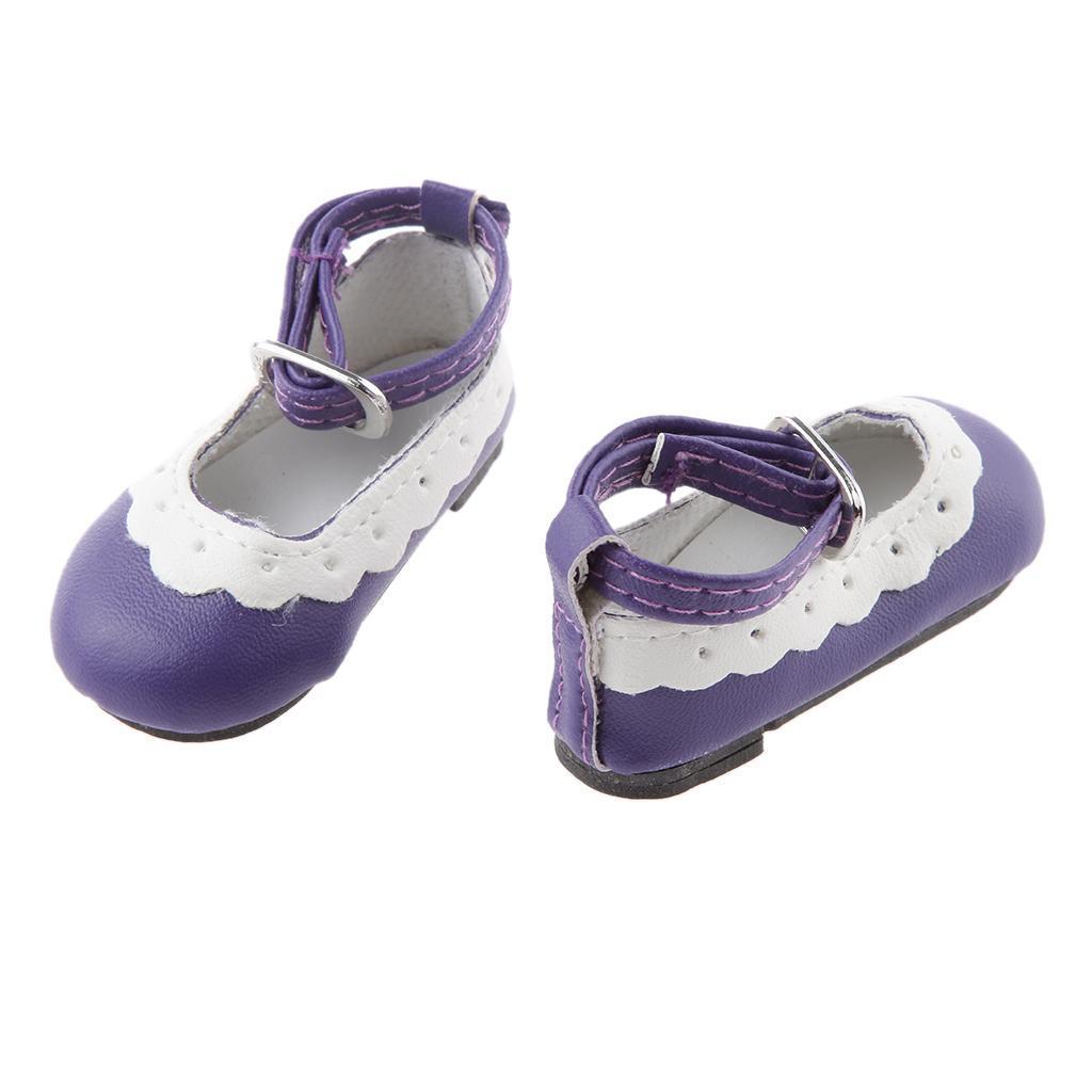 Colore-Chaussures-Plat-Cheville-Strap-Dentelle-Pour-1-4-Poupee-Dolls-Accessoire miniature 7