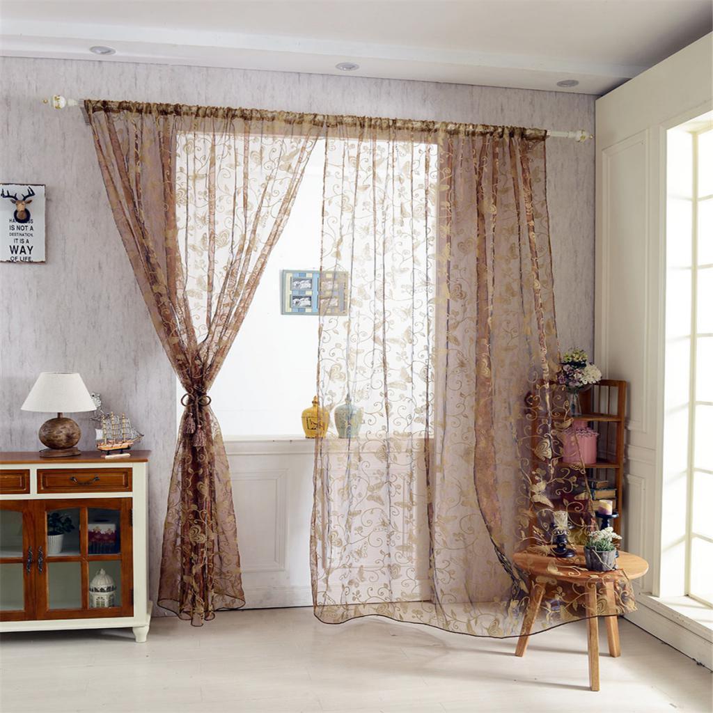 Rideau voilage de fen tre en voile impression papillon pour chambre h tel maison eur 8 96 - Voilage pour chambre ...