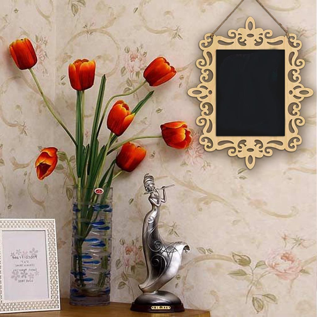 Wooden-Hanging-Chalkboard-Memo-Signs-Blackboard-Home-Wall-Holder-Decoration thumbnail 4