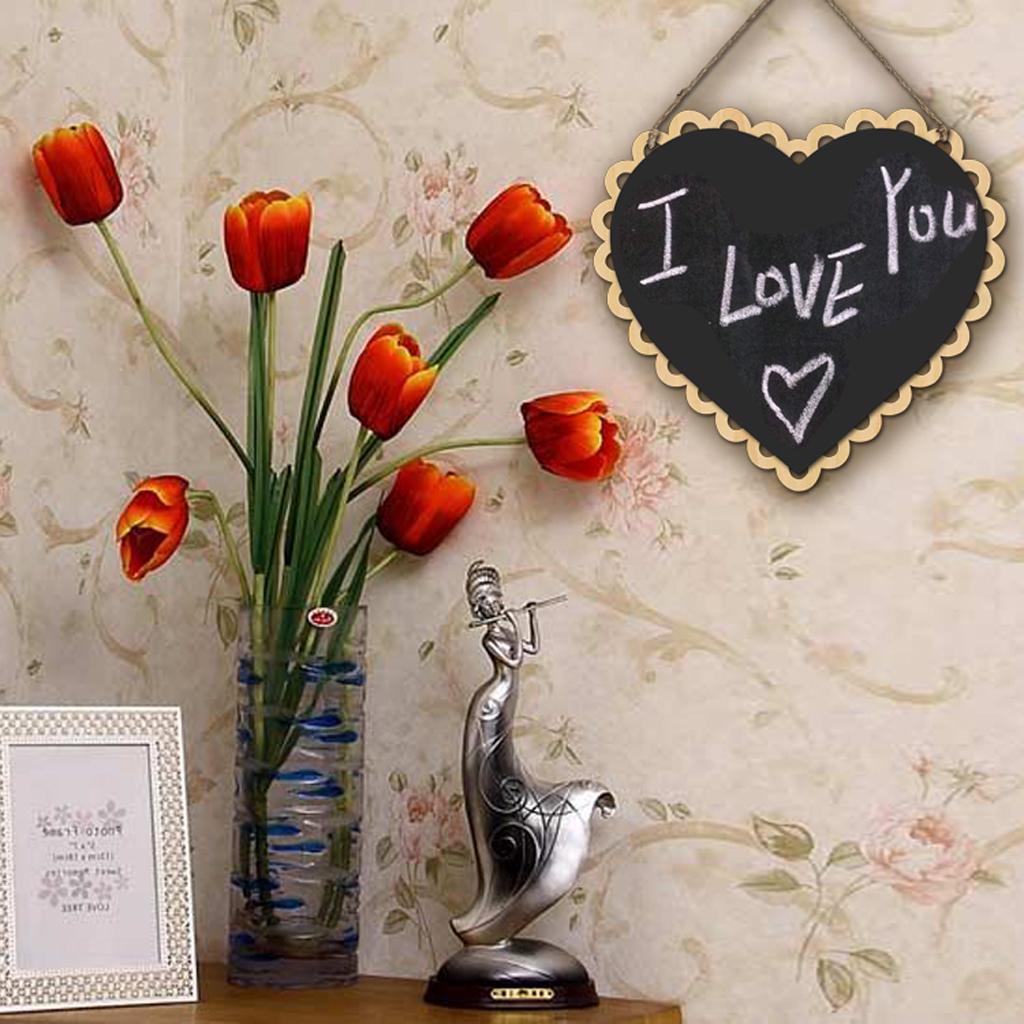Wooden-Hanging-Chalkboard-Memo-Signs-Blackboard-Home-Wall-Holder-Decoration thumbnail 6