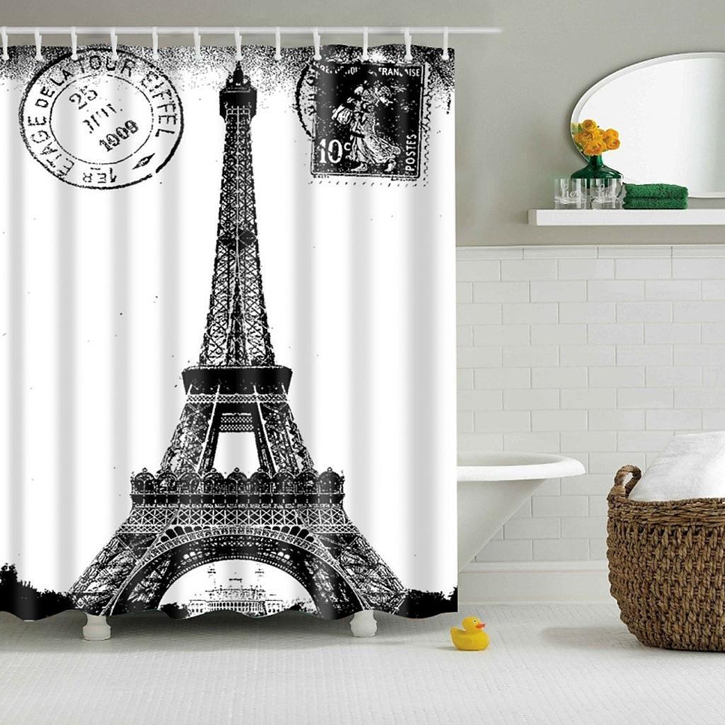 Rideaux-de-douche-Salle-de-bain-Decor-etanche-en-tissu-polyester-rideaux miniature 95