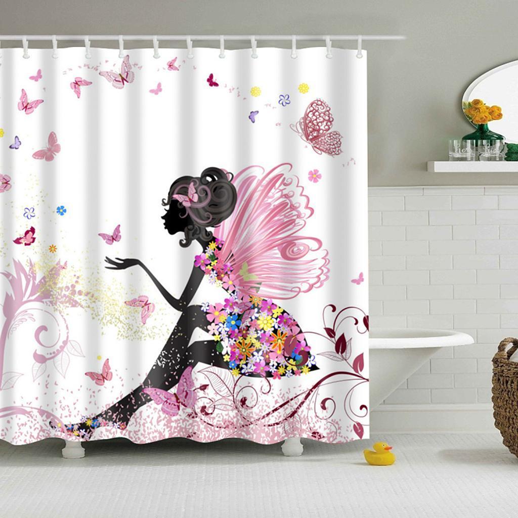 Rideaux-de-douche-Salle-de-bain-Decor-etanche-en-tissu-polyester-rideaux miniature 104