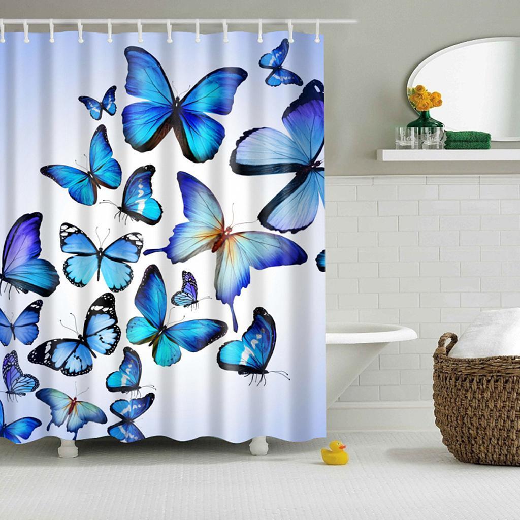 Rideaux-de-douche-Salle-de-bain-Decor-etanche-en-tissu-polyester-rideaux miniature 105