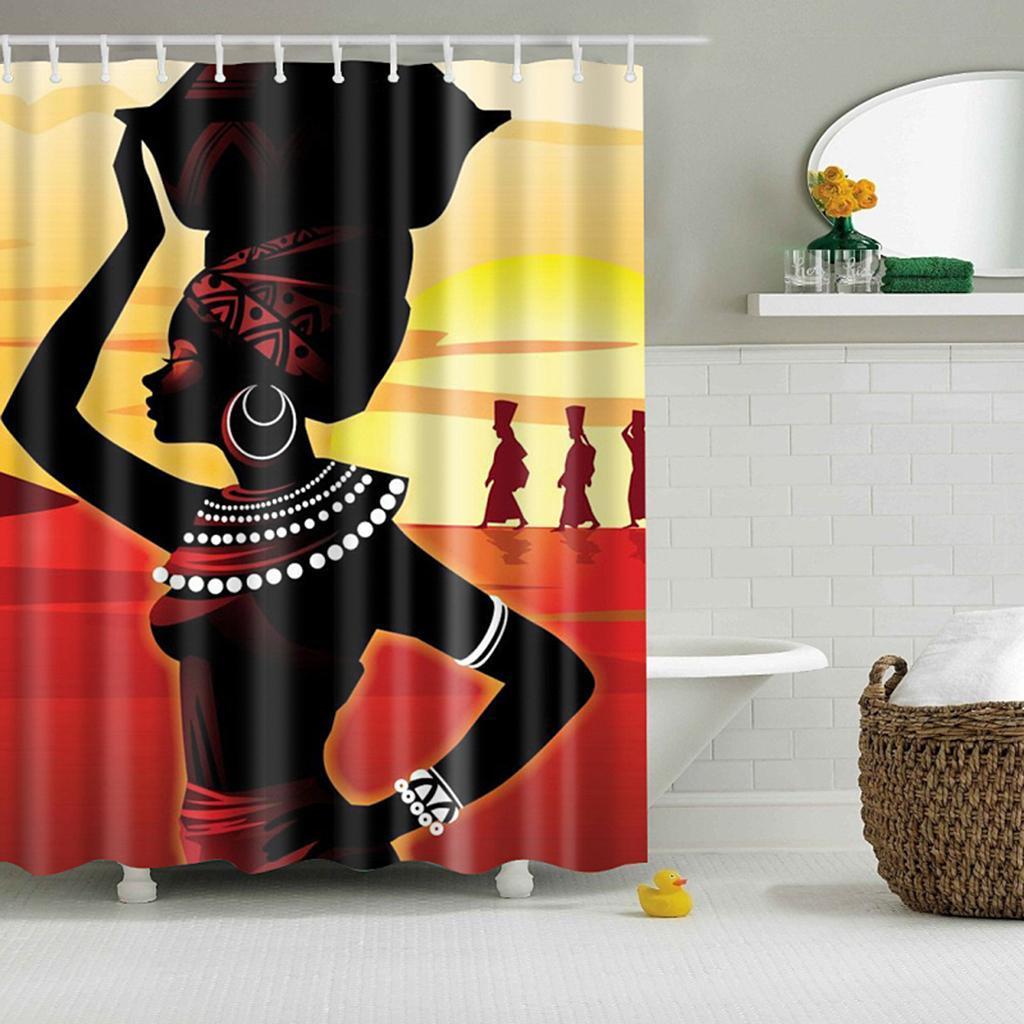 Rideaux-de-douche-Salle-de-bain-Decor-etanche-en-tissu-polyester-rideaux miniature 108