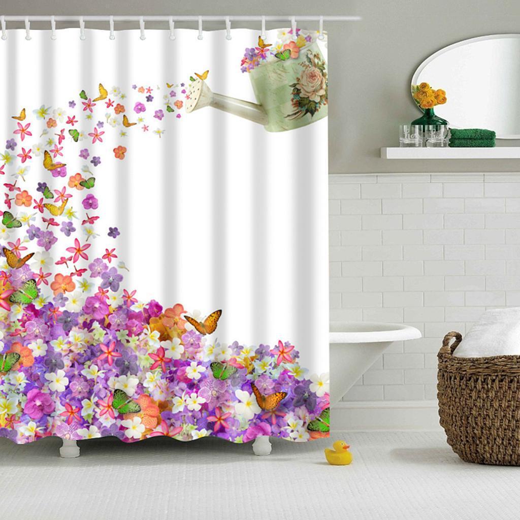 Rideaux-de-douche-Salle-de-bain-Decor-etanche-en-tissu-polyester-rideaux miniature 110