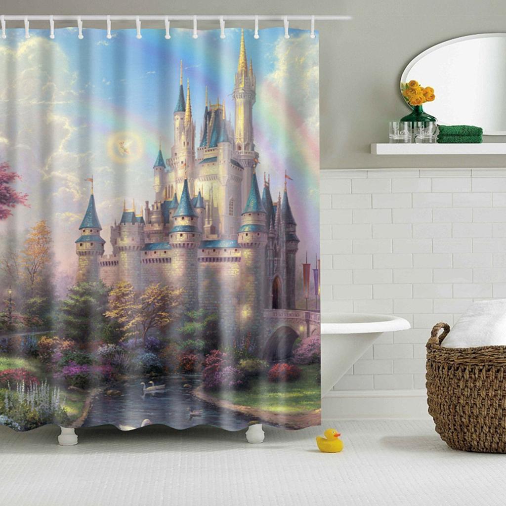 Rideaux-de-douche-Salle-de-bain-Decor-etanche-en-tissu-polyester-rideaux miniature 111