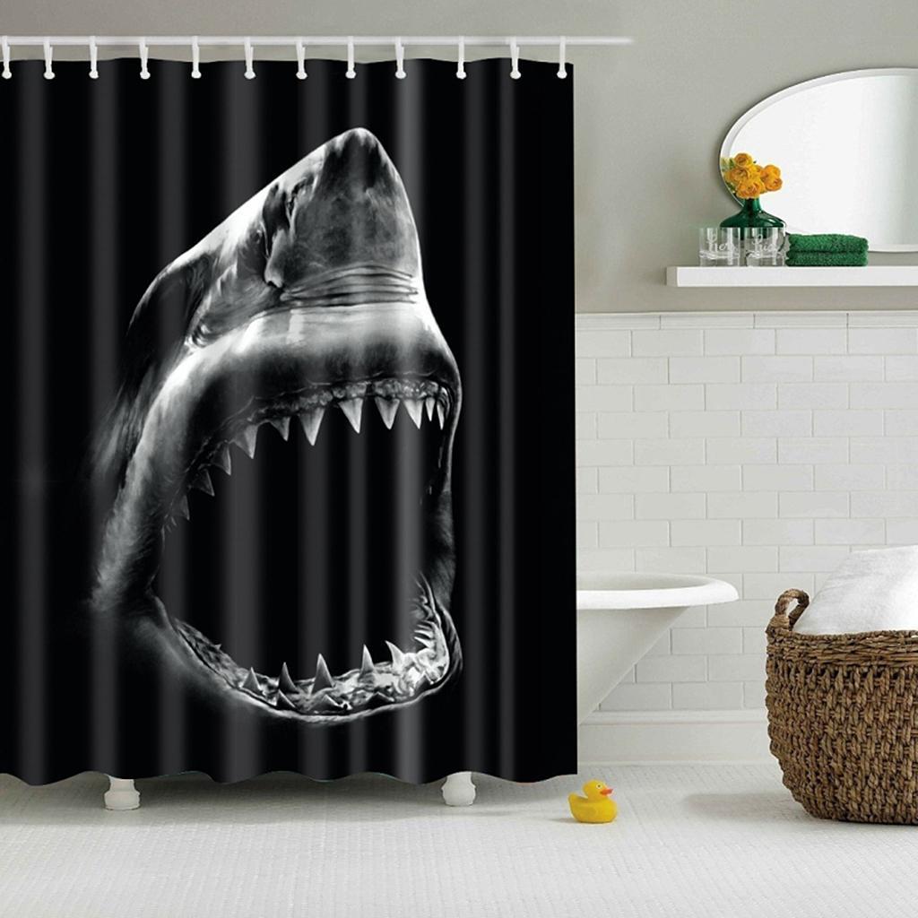 Rideaux-de-douche-Salle-de-bain-Decor-etanche-en-tissu-polyester-rideaux miniature 122