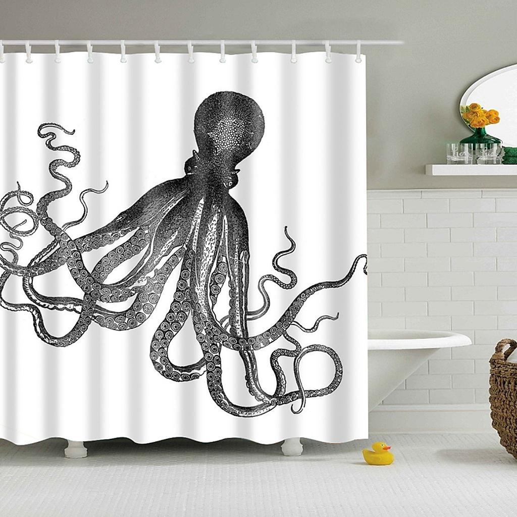 Rideaux-de-douche-Salle-de-bain-Decor-etanche-en-tissu-polyester-rideaux miniature 62