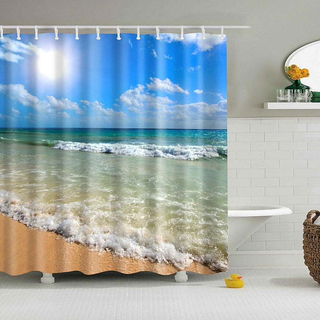 Rideaux-de-douche-Salle-de-bain-Decor-etanche-en-tissu-polyester-rideaux miniature 68