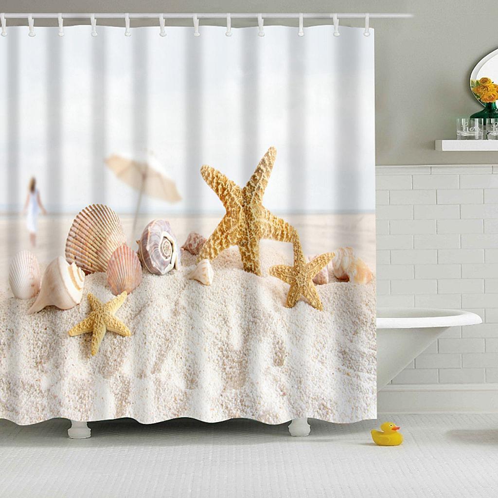 Rideaux-de-douche-Salle-de-bain-Decor-etanche-en-tissu-polyester-rideaux miniature 71