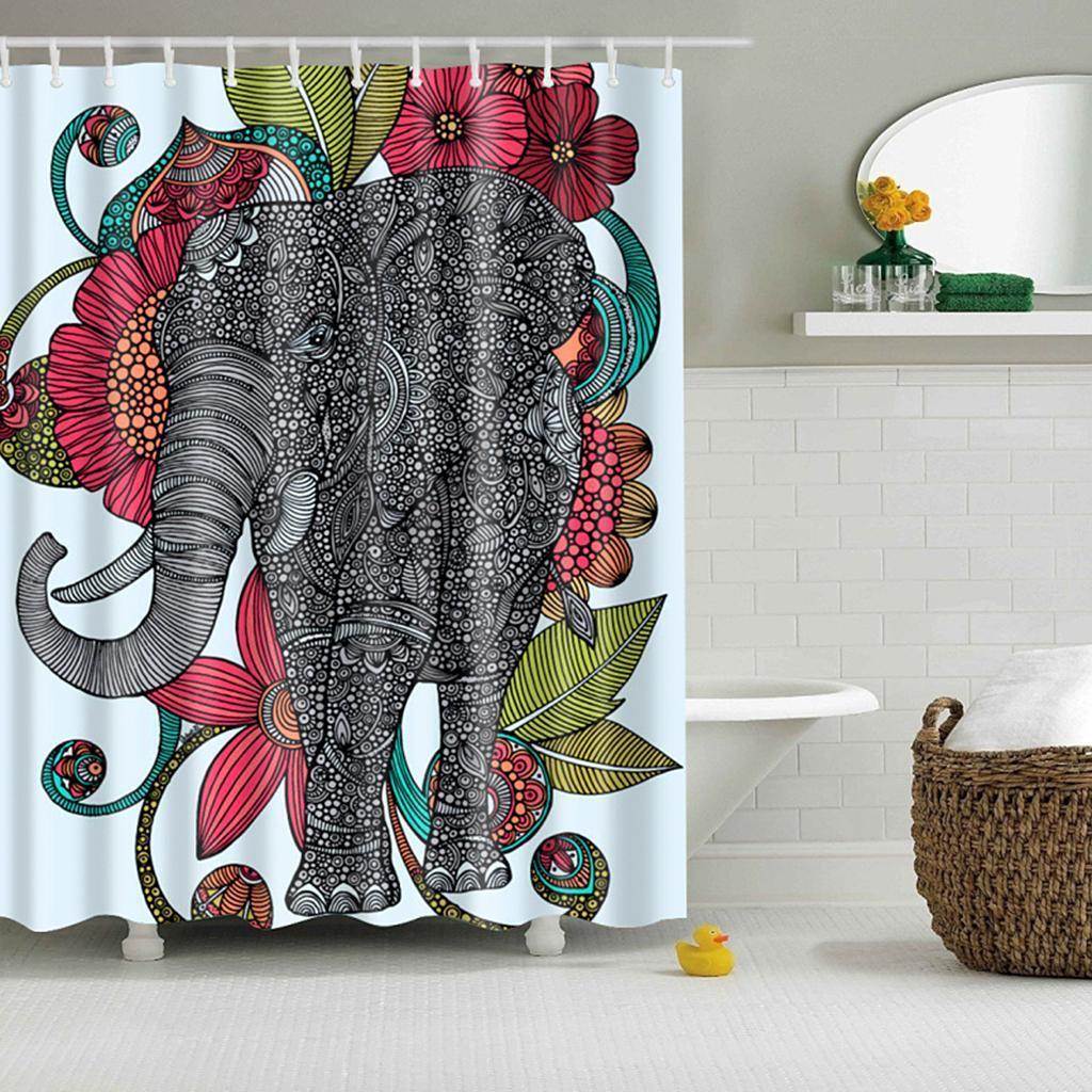 Rideaux-de-douche-Salle-de-bain-Decor-etanche-en-tissu-polyester-rideaux miniature 78