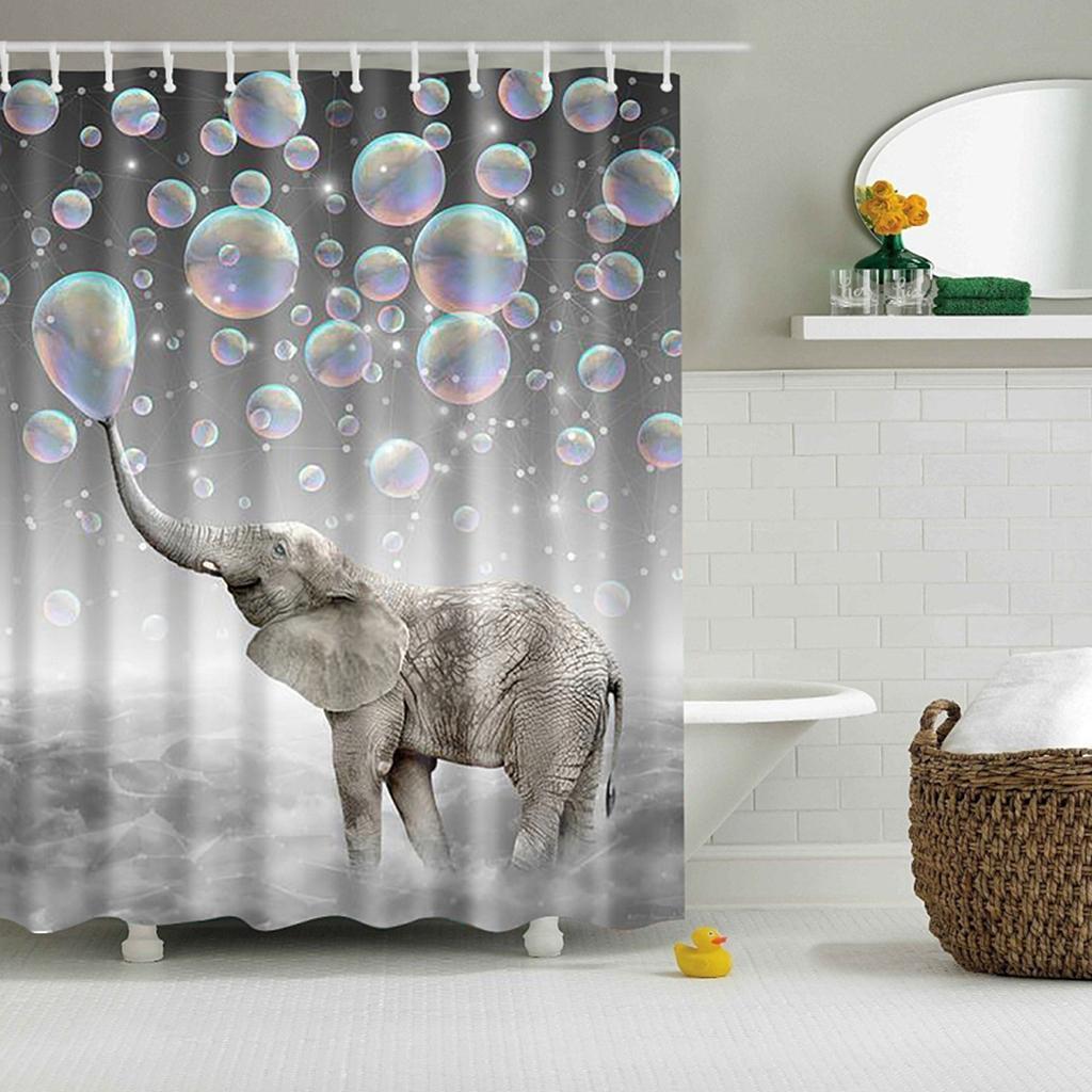 Rideaux-de-douche-Salle-de-bain-Decor-etanche-en-tissu-polyester-rideaux miniature 80