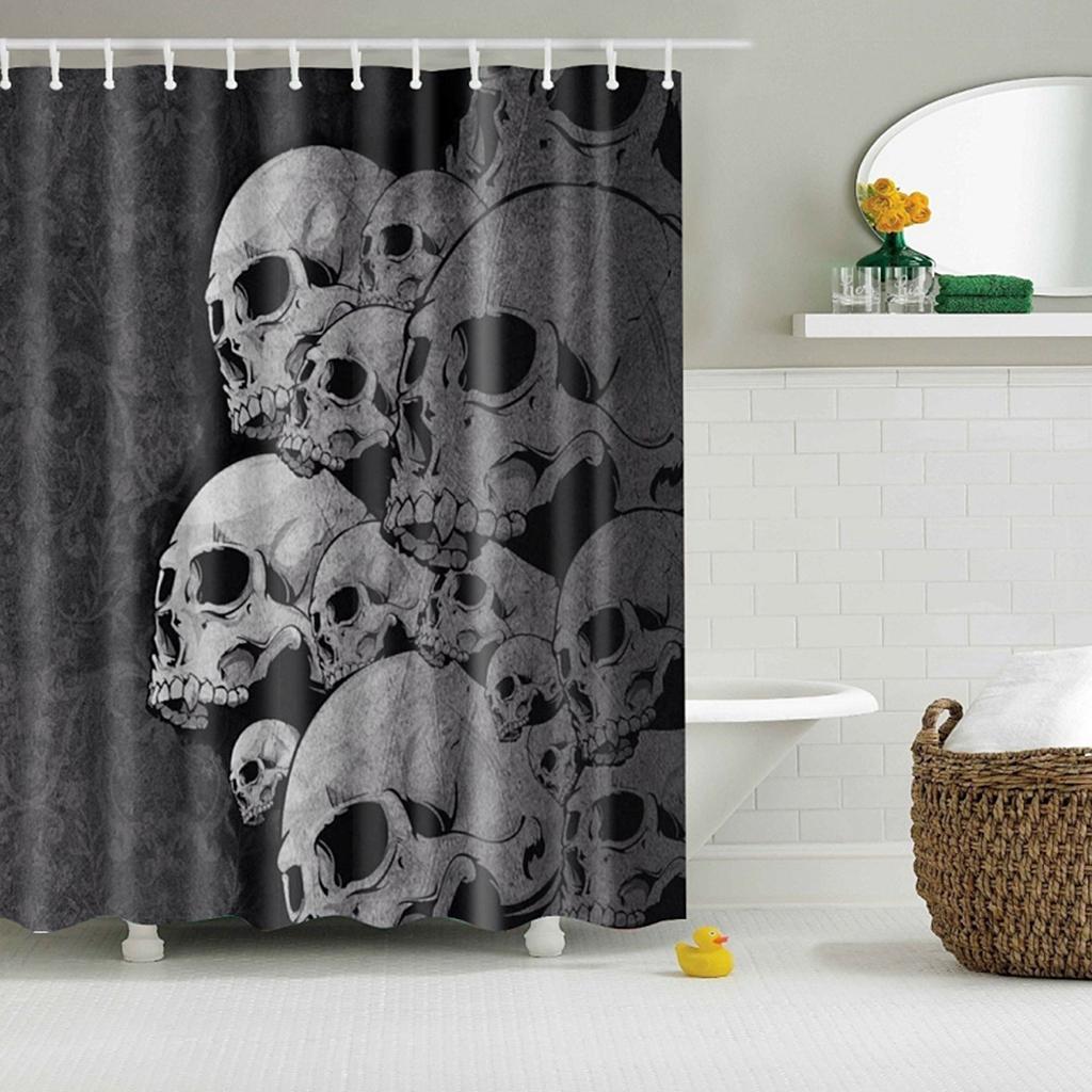 Rideaux-de-douche-Salle-de-bain-Decor-etanche-en-tissu-polyester-rideaux miniature 81